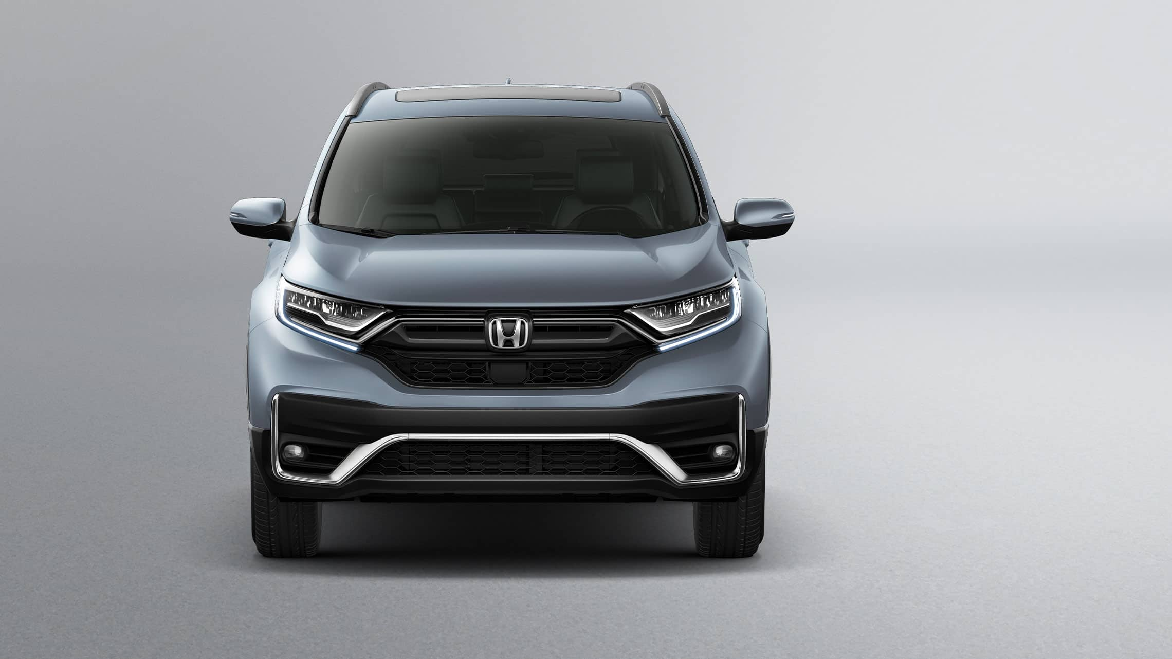 Front view of the 2020 Honda CR-V Touring in Sonic Gray Pearl.